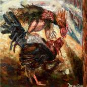 Cock Fight.  Oil on canvas